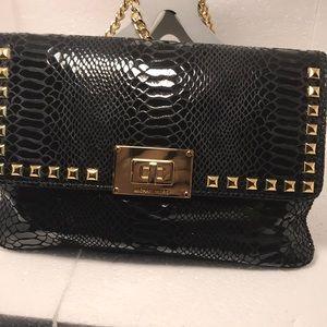 Black patent leather clutch/purse